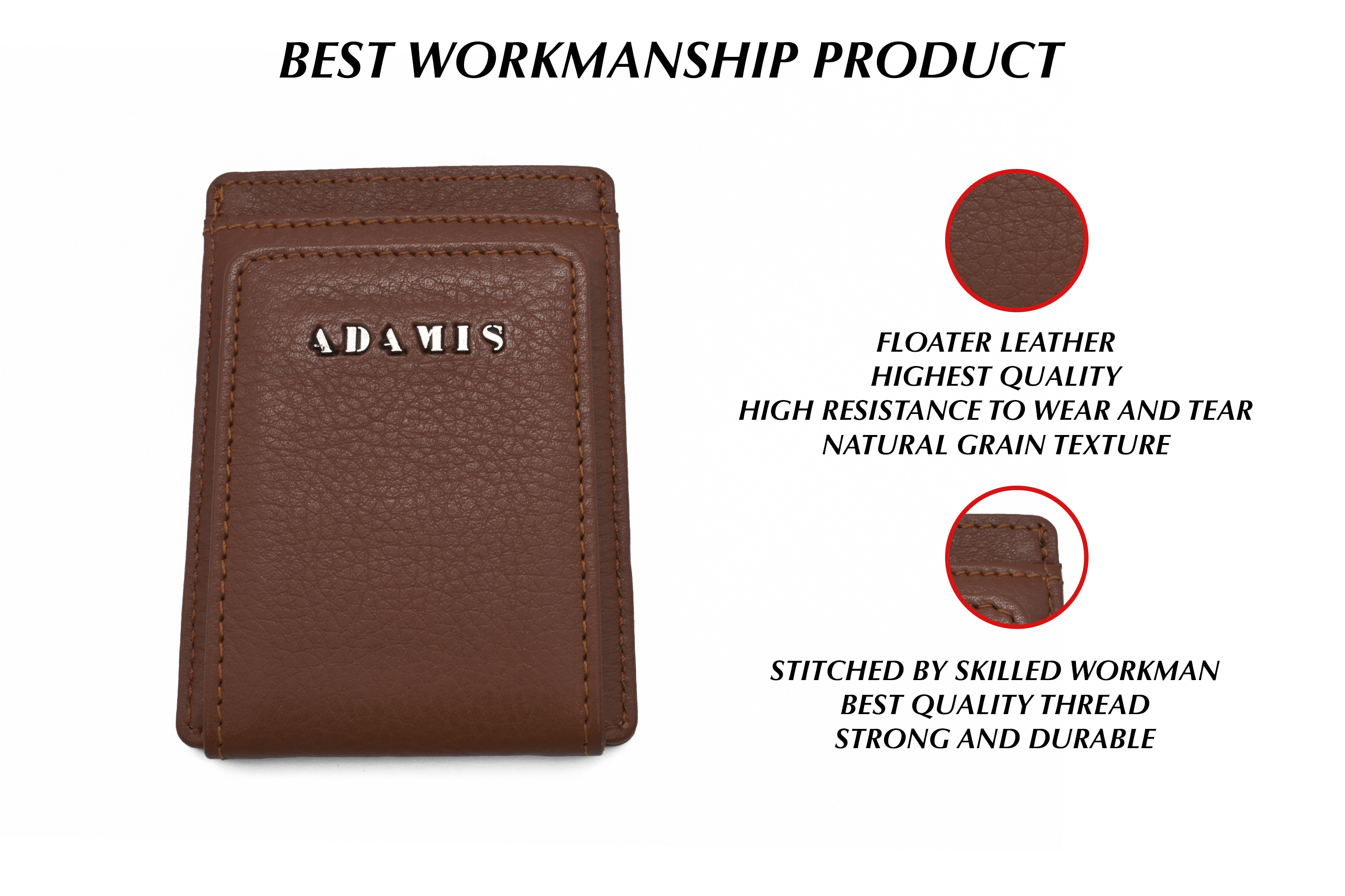 W340--Credit card case in genuine leather - Tan