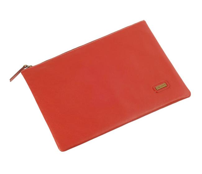 Leonardo Leather Laptop Sleeve / Folder(Red)F16