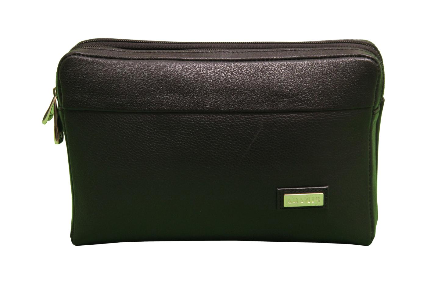 P20-Fernando-Men's bag cum travel pouch in Genuine Leather - Black