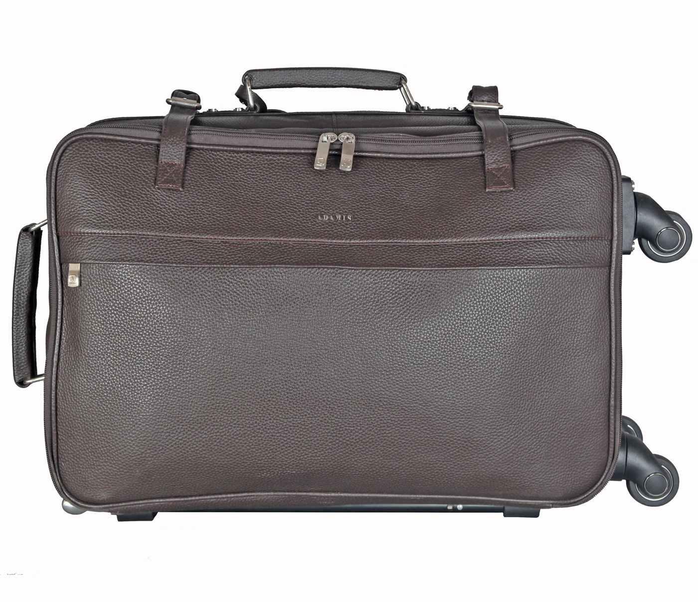 T35-Jiacobbe-Travel multi compartment cabin luggage strolley in Genuine Leather - Brown