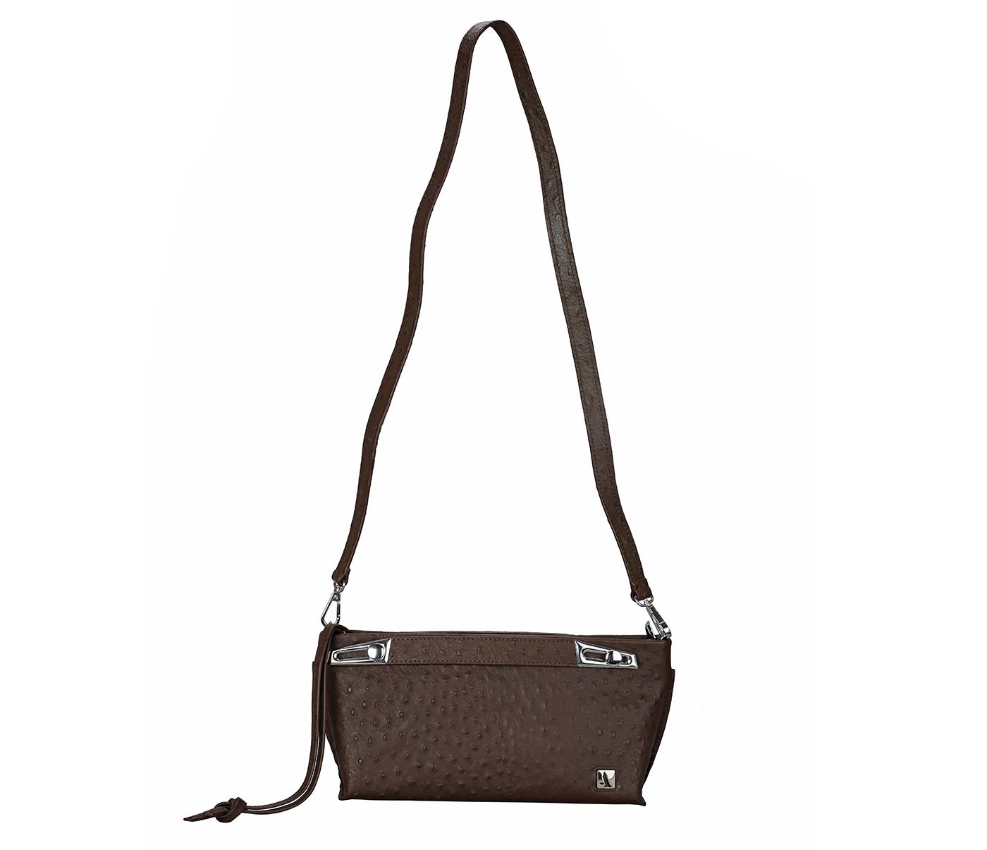 B875-Senobia-Evening Bag in Genuine Leather - Brown