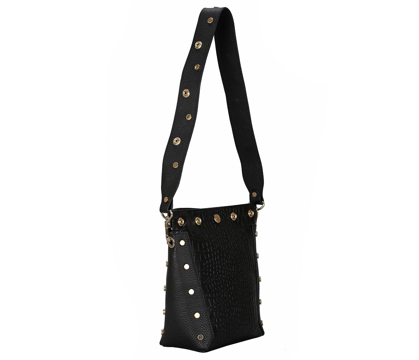 B876-Valencia-Shoulder work bag in Genuine Leather - Black