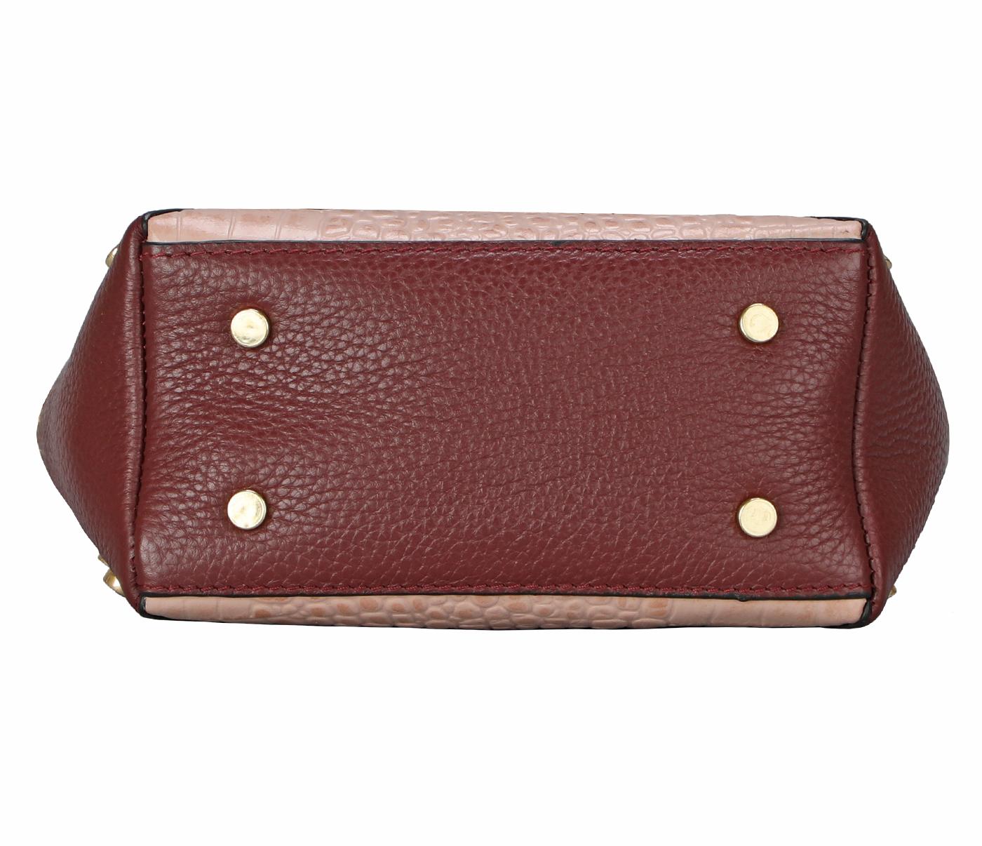 B876-Valencia-Shoulder work bag in Genuine Leather - Wine