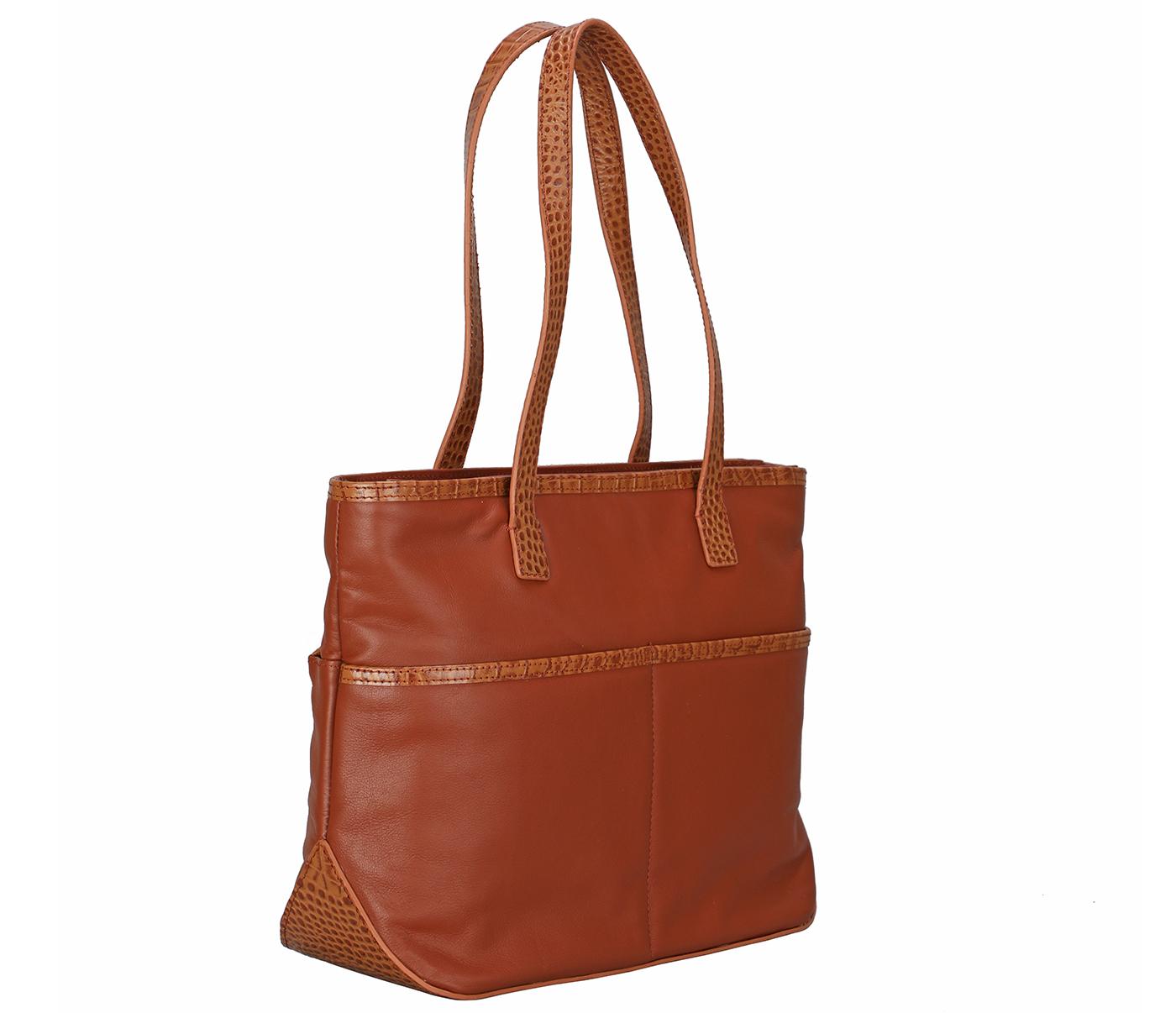B877-Norita-Shoulder work bag in Genuine Leather - Tan