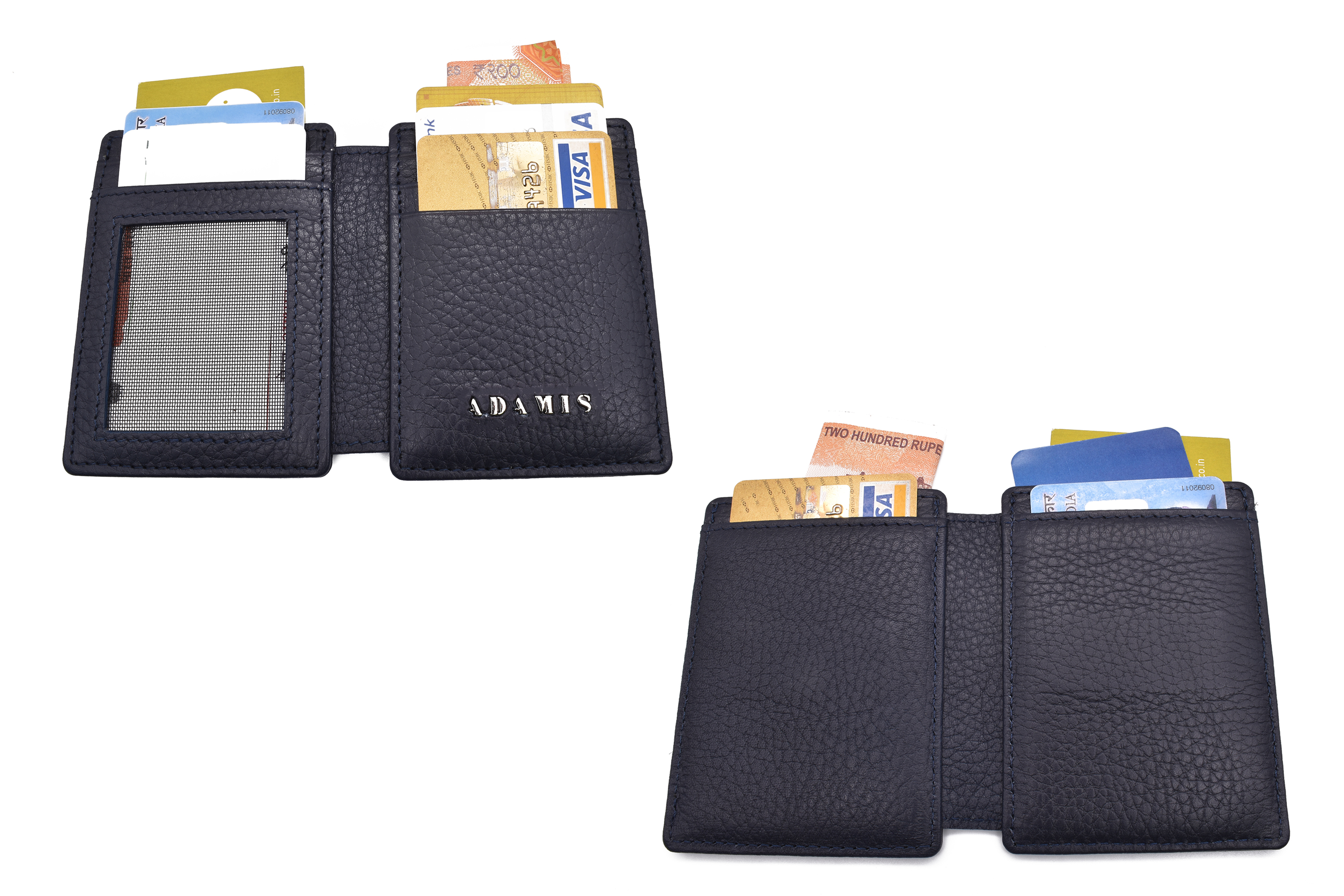 W339--Credit card case in genuine leather - Blue
