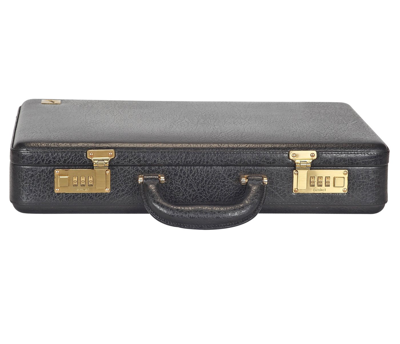 BC14--Briefcase hard top in Genuine Leather - blk